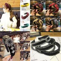 Women Rhinestone Crystal Headband Hair Band Wide Headwrap Headwear Accessories