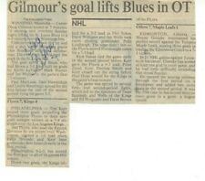 1980's Doug Gilmour Autographed Newspaper Game Summary St. Louis Blues