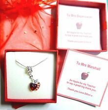 Thank You Gift Necklace Apple for Teacher Nursery Teacher Childminder End Term