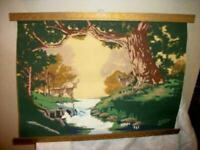 VINTAGE PAINT BY NUMBERS PAINTING SCROLL TAPESTRY DEER STREAM TRI CHEM LATE 40s