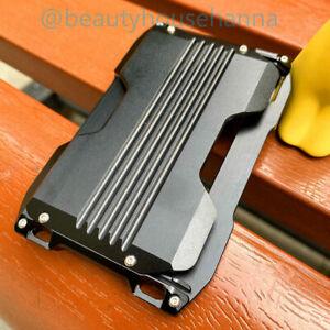 Slim Aluminum Card Holder for Men RFID Metal Mens Wallet Money Band Clip Strap