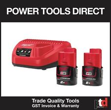 NEW MILWAUKEE M12 12V CORDLESS C12C CHARGER & M12B 2AMP BATTERIES x 2 LITH ION