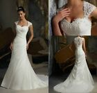 New Stock White Ivory Mermaid lace Wedding Dress Bridal Gown Size6 8 10 12 14 16