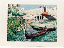 Vintage original DENIS PAUL NOYER Floral Canals in Venice  Lithograph SIGNED #65