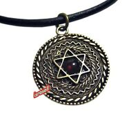 SHEMA YISRAEL NECKLACE WITH STAR OF MAGEN DAVID & GARNET STONE Israel Jewish Art