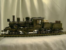 1  Climax Logging Steam Engine DCC + 2  cars -weathered, custom built- lot 4 -HO