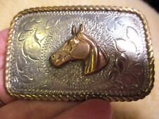 VINTAGE HORSE HEAD CROWN SILVER Sterling Front Hand Made & Engraved Belt Buckle