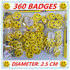 360 X MINI SMALL YELLOW SMILEY FACE BADGES - BIRTHDAY PARTY, LOOT BAG, GIFT - AP