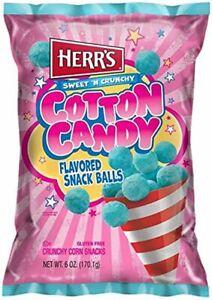 Herr's Cotton Candy Flavored Crunchy Corn Snack Balls 6 Oz. (1 Bag)