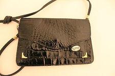 Ladies Vintage 1980's Black Moc Croc Faux Leather  Across the Body/ Shoulder Bag