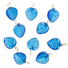 Shiny Blue Glass Leaf Charm Pendants 16x12mm Pack of 10 (B65/8)