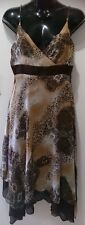 Ladies Size 10 spaghetti strap brown dress with uneven hem