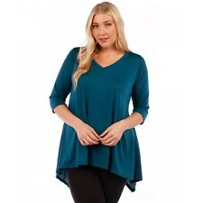 Womens TEAL Tunic Top Asymmetrical Yummy Plus Size 6X