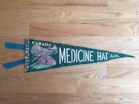 Vtg Medicine Hat Alberta Pennant Felt Banner 1960's Canada Souvenir AB Beaver