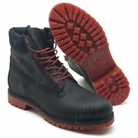 "Timberland Mens Size 11.5 Black & Red 6"" Premium Waterproof Helcor Leather Boots"