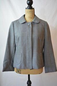 Ann Taylor LOFT Heathered GRAY 100% Wool CROPPED hidden button blazer, size 8