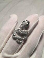 Vintage 1970's Real 925 Sterling Silver Adjustable Crystal Snake Women's Ring