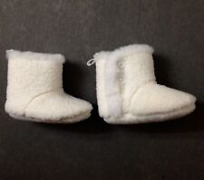 new (6-12 month infant) Baby Girl Fuzzy Bootie Boot Slippers white faux shearing