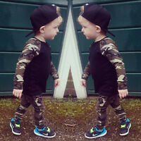 2PCS Newborn Kids Baby Boy Outfit Clothes T-shirt Tops+Camouflage Pants Trousers