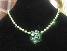 Necklace or Bracelet or Set Green Red made with Swarovski Elements 925 Silver