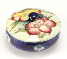 Moorcroft Navy Blue hibiscus Footed Jar with Lid. Hand painted raised floral