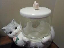 Vintage Treasure Chest Cookie Jar Gray Cat Holding Fish Bowl Ceramic