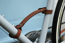 Dark Brown Leather Bike Carry Handle - Temple Cycles bicycle strap