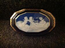 Antique Limoges Box 20.5cm By 13cm By 7cm Cobalt Blue White Cherubs On Lid.