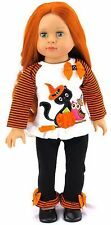 "Halloween Shirt with Cat  & Legging Costume fits 18"" American Girl Doll Clothes"