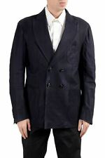 Kiton Napoli Men's 100% Suede Leather Dark Blue Blazer Sport Coat US 44 IT 54