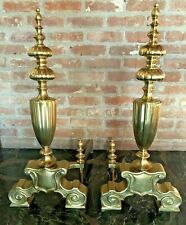 """Fireplace Accessory ~Pair Of Vintage Monumental Scroll Base Brass Andirons~28""""H"""
