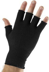 Fingerless Gloves Black Thermal Mens Womens Unisex Half Finger Magic One Size