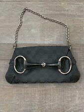 Authentic Gucci Black Canvas GG Horsebit Chain Bag