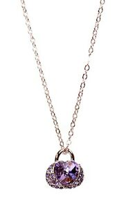 Crystals From Swarovski Heart Lock Pendant Necklace Rhodium Authentic 2140n