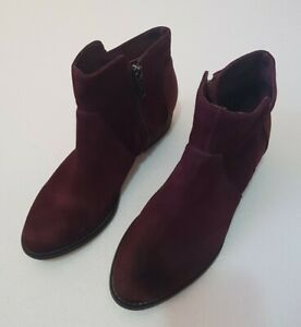 Mimco suede leather ankle boots - Size 36 Burgundy maroon low heel
