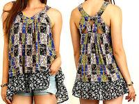 Umgee Top Size XL S M L Black Patchwork Print Tunic Womens Boutique Shirt New