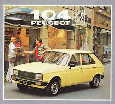 PEUGEOT 104 GL GR S Kleinwagen Klassiker Prospekt Brochure 1982 /40