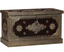 solid wood blanket box chest trunk furniture with brass repousse work from INDIA