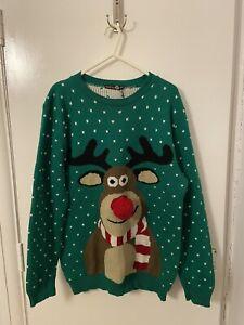 Boohoo Mens Rudolph Green Christmas Jumper Size S/M. D123120