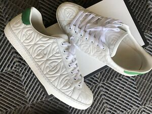 Men's Gucci Ace White Sneakers Green Embroidered Sz 10G/ 11US Quilted 730$+ 2020