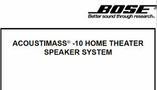 BOSE ACOUSTIMASS 10 Sistema Home Theater Speaker Servizio Manuale Libro in Inglese
