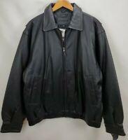 Mens Black Leather Insulated Bomber Jacket Coat Size Large Full Zip St Johns Bay