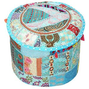 Boho Pouffe Cover Ottoman Turquoise Cotton Patchwork Embroidered Round 18 Inch