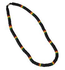 "Nayt Beach Coco Bead Rasta Necklace Surfer Choker 18"" Black Red Yellow Green"