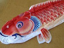 "35""L Koi Nobori Carp Wind Sock Red Koinobori Fish Kite Flag Hanging Wall Decor"