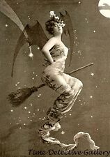 A Winged Witch on a Broom - Vintage Photo Print