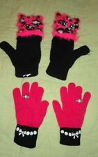 Lot of 2 Pairs of Gloves*Justice Pink Cats Fingerless with covers*Pink Gloves