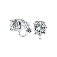 2 CT Brilliant Cut Solitaire Round CZ Clip On Stud Earrings Silver Plate Brass