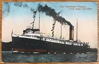 ONTARIO CANADA SS ASSINIBOIA FLAGSHIP CPR UPPER LAKE FLEET POSTCARD 508