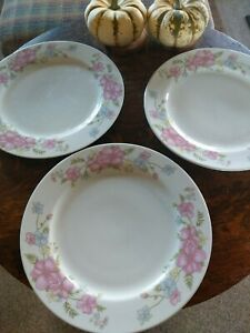 3 McCrory Stores 10 1/2 Dinner plates Pink and Blue Floral Decorations